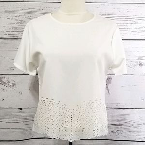 Smooth Short Sleeve White/Cream Cut Out Hem Blouse